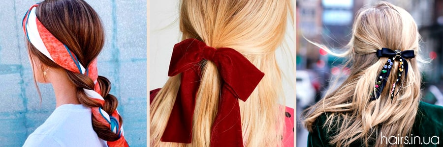 Фото бантиков и ленточек в волосах